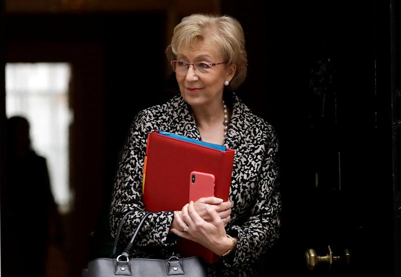 FILE - In this Tuesday, March 19, 2019 file photo, Britain's Andrea Leadsom the Leader of the House of Commons leaves a cabinet meeting at 10 Downing Street in London. Prime Minister Theresa May's announcement that she will leave 10 Downing Street has set off a fierce competition to succeed her as Conservative Party leader _ and as the next prime minister. (AP Photo/Matt Dunham, File)