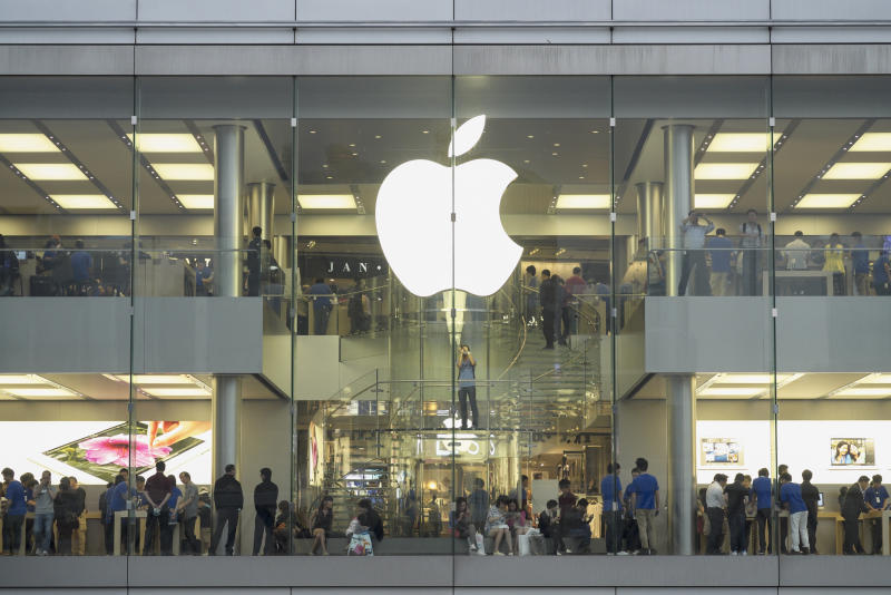 View of large Apple store in Hong Kong