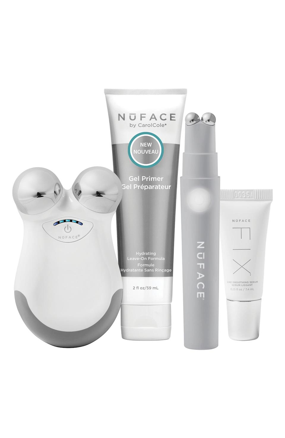 """<p><strong>NuFACE </strong></p><p>nordstrom.com</p><p><a href=""""https://go.redirectingat.com?id=74968X1596630&url=https%3A%2F%2Fwww.nordstrom.com%2Fs%2Fnuface-the-petite-facial-kit-358-value%2F5910263&sref=https%3A%2F%2Fwww.harpersbazaar.com%2Fbeauty%2Fg36991550%2Fnordstrom-anniversary-sale-beauty-deals%2F"""" rel=""""nofollow noopener"""" target=""""_blank"""" data-ylk=""""slk:Shop Now"""" class=""""link rapid-noclick-resp"""">Shop Now</a></p><p><strong>Sale: $219</strong></p><p><strong>Value: $358</strong></p><p>NuFACE's award-winning facial toning device sends micro-currents through the skin, which helps boost collagen and lift muscle, effectively creating a more tightened appearance. The device requires frequent use for a noticeable transformation, but many users (<a href=""""https://www.harpersbazaar.com.au/beauty/best-skin-care-tools-devices-16072"""" rel=""""nofollow noopener"""" target=""""_blank"""" data-ylk=""""slk:Jennifer Aniston"""" class=""""link rapid-noclick-resp"""">Jennifer Aniston</a> included) praise the results. </p>"""