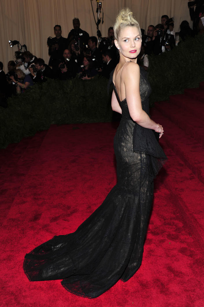 """Jennifer Morrison attends The Metropolitan Museum of Art's Costume Institute benefit celebrating """"PUNK: Chaos to Couture"""" on Monday, May 6, 2013, in New York. (Photo by Charles Sykes/Invision/AP)"""