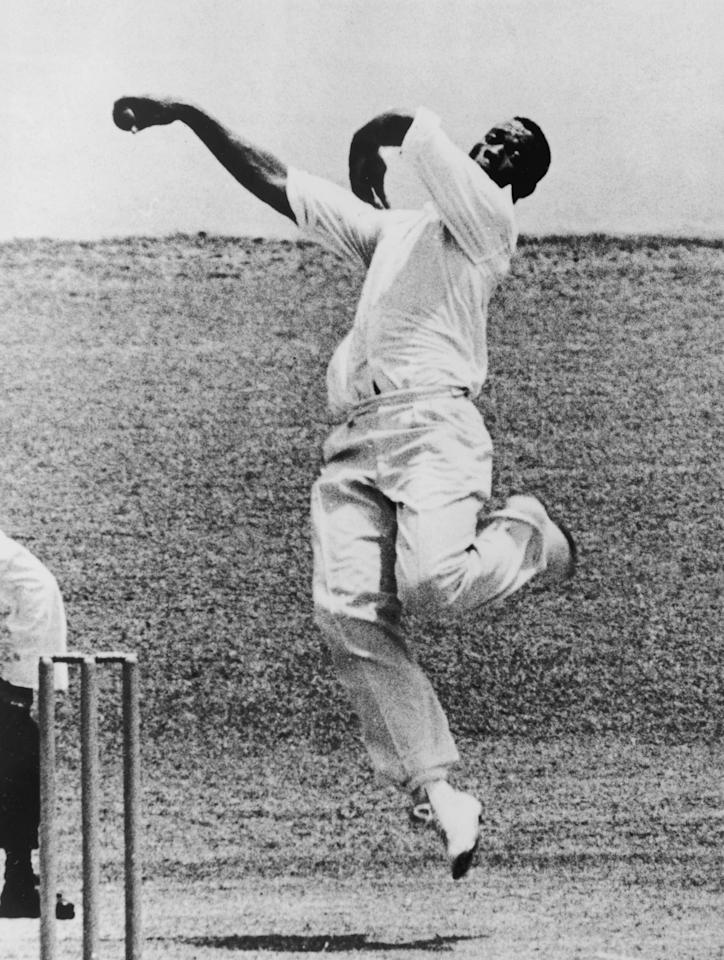 West Indian fast bowler Wes Hall in action, April 1963. (Photo by Central Press/Hulton Archive/Getty Images)