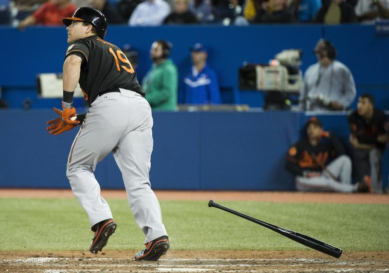 Baltimore Orioles' Chris Davis heads to first on a solo home run against the Toronto Blue Jays during the eighth inning of a baseball game in Toronto on Friday, Sept. 13, 2013. (AP Photo/The Canadian Press, Nathan Denette)
