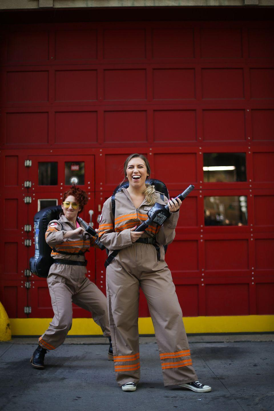 """<p>Show your neighborhood that you and your best friend really aren't afraid of no ghost by throwing on a khaki jumpsuit and backpack-turned-proton pack. </p><p><a class=""""link rapid-noclick-resp"""" href=""""https://www.amazon.com/Spirit-Halloween-Ghostbusters-Deluxe-Replica/dp/B071ZBPH6D/?tag=syn-yahoo-20&ascsubtag=%5Bartid%7C10055.g.21969310%5Bsrc%7Cyahoo-us"""" rel=""""nofollow noopener"""" target=""""_blank"""" data-ylk=""""slk:SHOP PROTON PACK"""">SHOP PROTON PACK</a> </p><p><em><a href=""""http://livingaftermidnite.com/2019/10/group-halloween-costumes-that-will-win-you-best-dressed.html"""" rel=""""nofollow noopener"""" target=""""_blank"""" data-ylk=""""slk:Get the tutorial at Living After Midnite >>"""" class=""""link rapid-noclick-resp"""">Get the tutorial at Living After Midnite >></a><br></em></p>"""