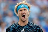 Germany's Alexander Zverev on the way to a three-set semi-final victory over Stefanos Tsitsipas in the ATP Cincinnati Masters