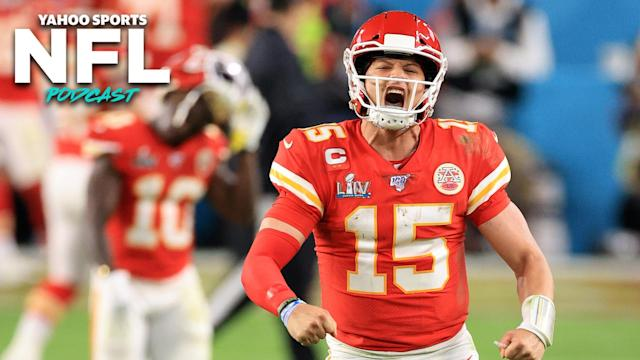 Kansas City QB Patrick Mahomes celebrates as the Chiefs win Super Bowl LIV in Miami, Florida. (Photo by Andy Lyons/Getty Images)