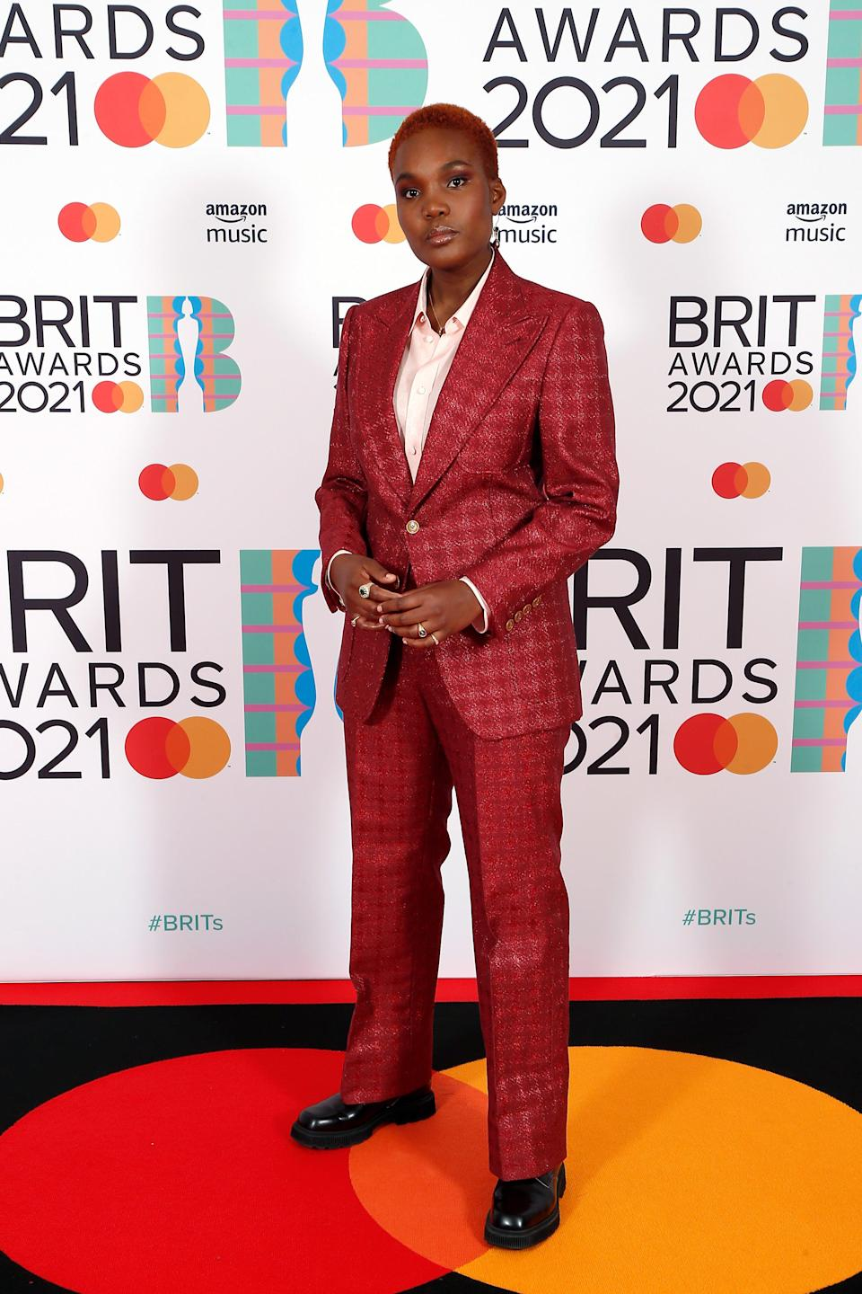 """<h2>Arlo Parks in Gucci</h2><br>There's something so classic and chic about wearing a suit on the red carpet. <span class=""""copyright"""">Photo: JMEnternational/JMEnternational for BRIT Awards/Getty Images.</span>"""