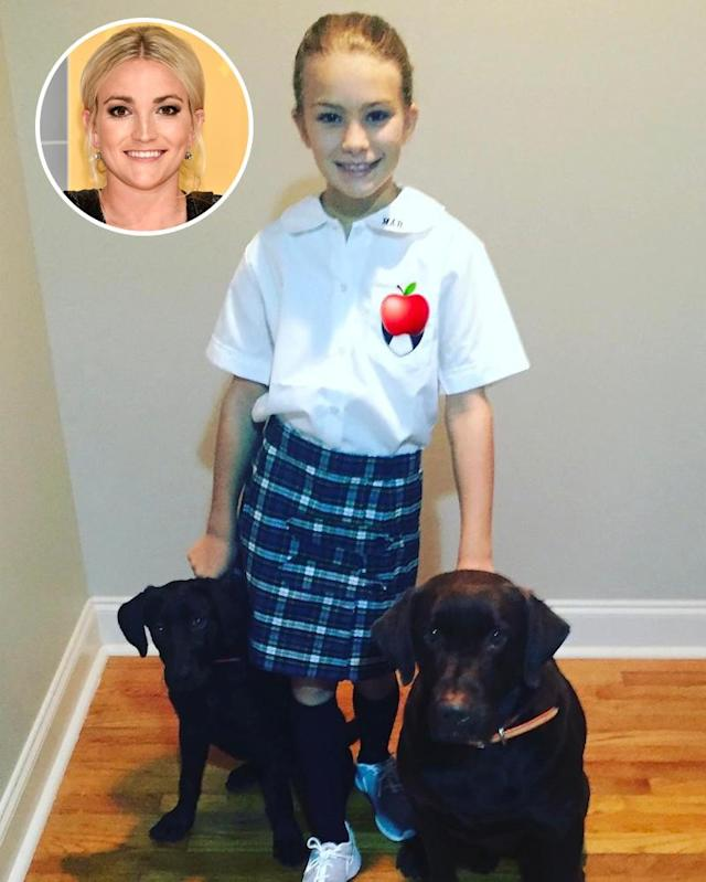 "<p>After a <a href=""https://www.yahoo.com/celebrity/jamie-lynn-spears-invites-heroic-first-responders-daughter-maddies-9th-birthday-party-165029609.html"" data-ylk=""slk:traumatic start to the year"" class=""link rapid-noclick-resp"">traumatic start to the year</a>, Jamie Lynn Spears's only daughter, Maddie, is happily cruising into fourth grade. Here she is posing with her pet pooches as mom marvels, ""And just like that… 4th grade.""(Photos: <a href=""https://www.instagram.com/p/BXlDvNsD6hB/?hl=en&taken-by=jamielynnspears"" rel=""nofollow noopener"" target=""_blank"" data-ylk=""slk:Jamie Lynn Spears via Instagram"" class=""link rapid-noclick-resp"">Jamie Lynn Spears via Instagram</a>/AP Images)<br><br></p>"