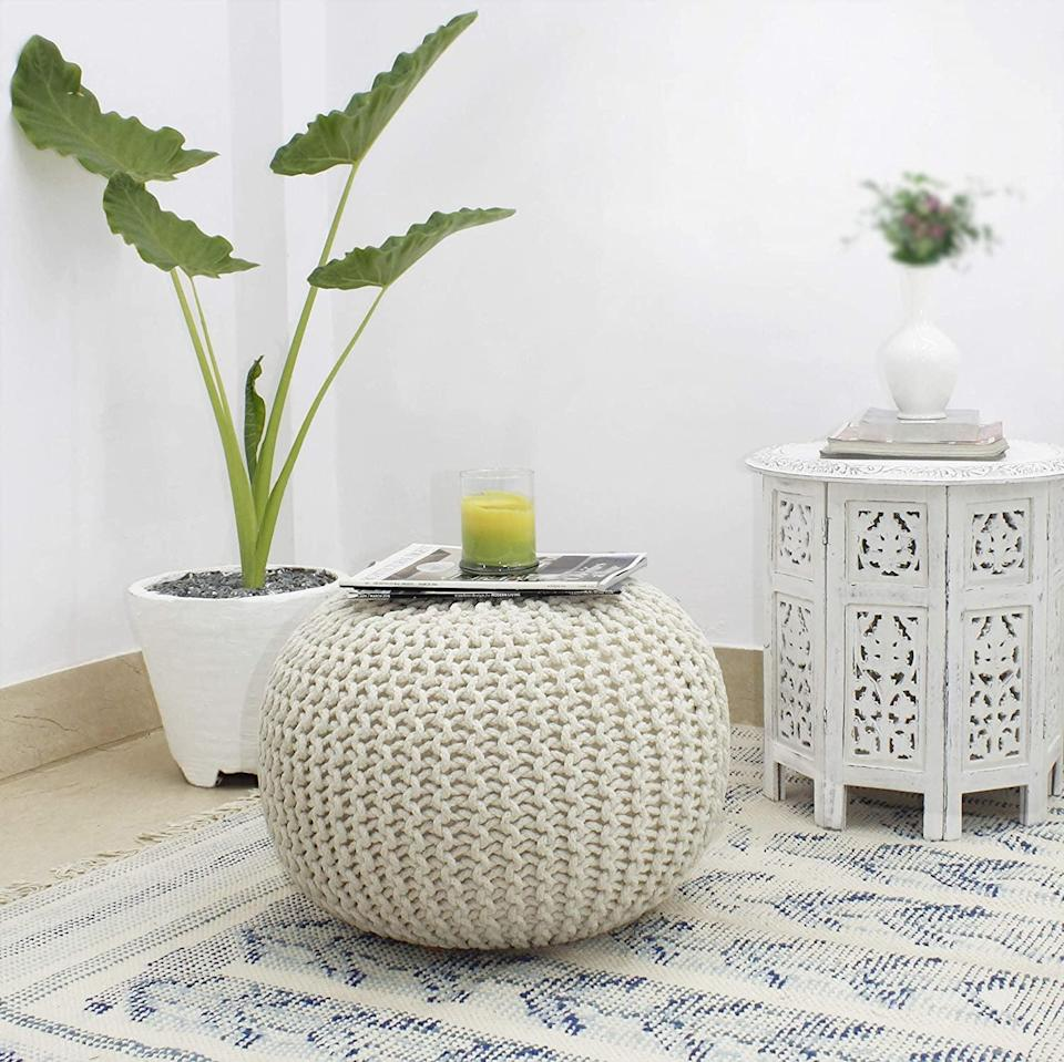 <p>Create extra seating in bedrooms or living rooms with this <span>Cotton Craft Hand Knitted Cable Style Dori Pouf/Floor Ottoman - Ivory</span> ($64).</p>