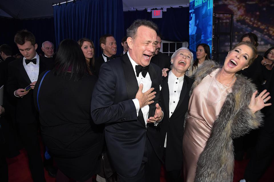 Hanks, Glenn Close, and Wilson at the <em>SNL 40th Anniversary Special</em> in 2015. (Photo: Michael Loccisano/NBC/NBCU Photo Bank via Getty Images)