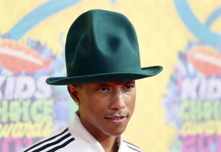 Pharrel Williams arrives at the 27th Annual Kids' Choice Awards in Los Angeles, March 29, 2014. REUTERS/Danny Moloshok