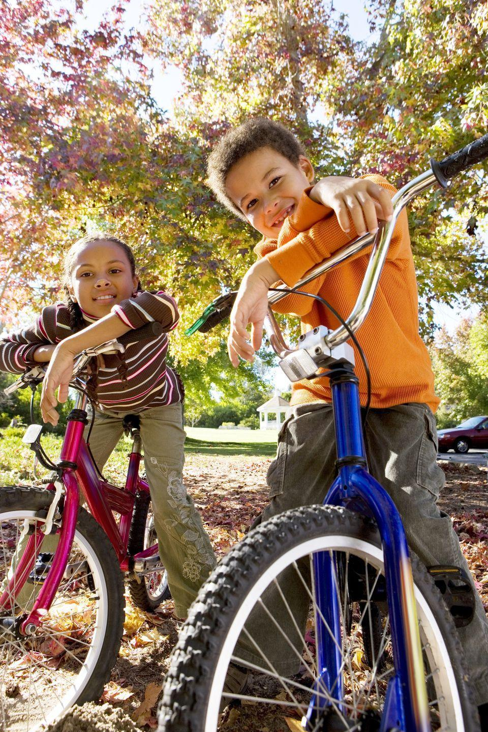 <p>Go ahead, enjoy the fresh air! Break out your bicycles and take a spin around the block to look for the prettiest leaves and trees. It's a great way to get moving before you get eating. </p>