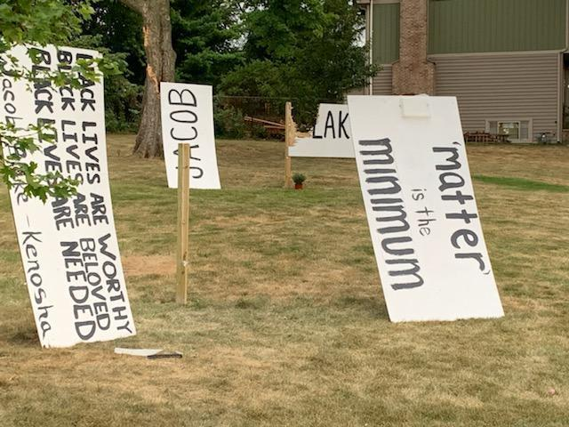 The August 2020 destruction of a Black Lives Matter sign placed in front of a Wheaton church where a Black and White congregation both worship prompted congregants to begin a racial reconciliation program. / Credit: Suz Strauss