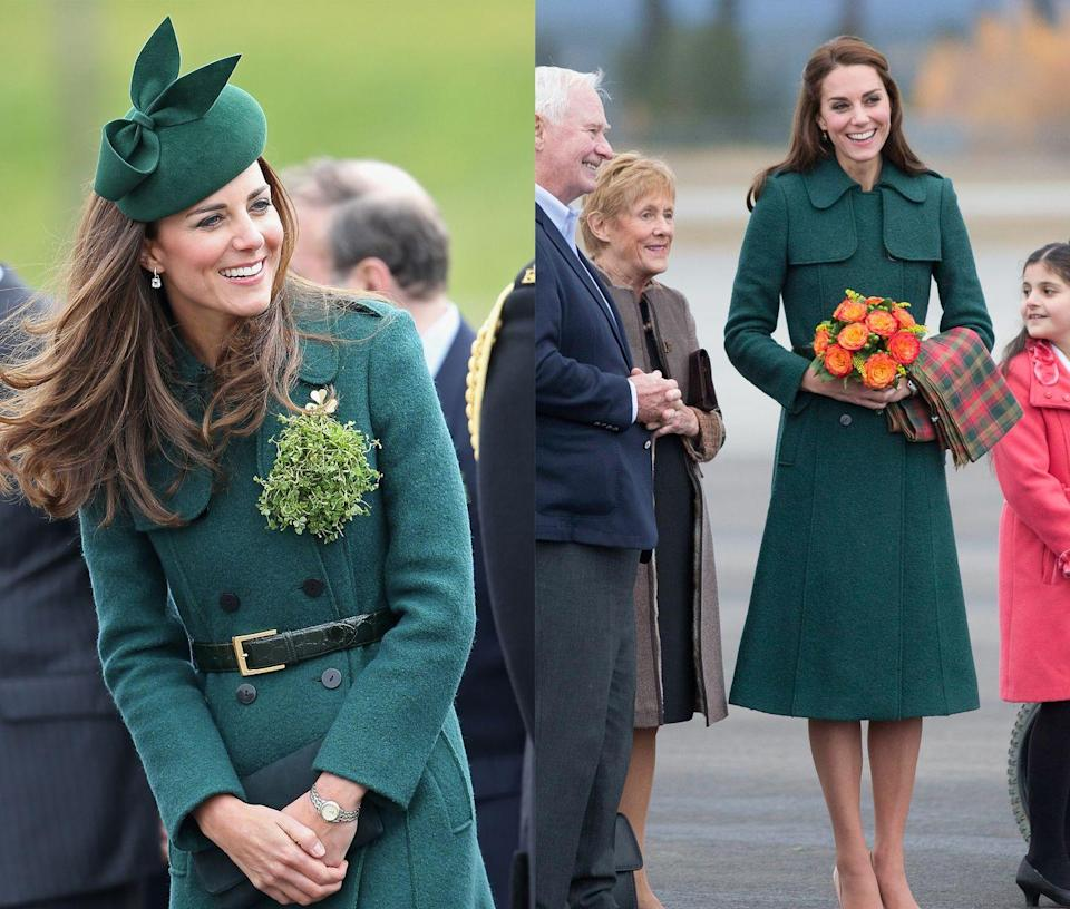 <p>This green double breasted coat has been worn to celebrate St. Patrick's Day in 2014 and on an official visit it Canada in 2016. </p>