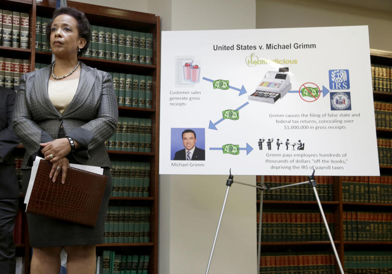 Loretta Lynch, U.S. Attorney for the Eastern District of New York, stands next to a poster displaying the alleged crimes committed by U.S. Rep. Michael Grimm during a news conference in New York, Monday, April 28, 2014. Lynch announced an indictment against Grimm, who was taken into custody Monday to face federal charges following a two-year investigation of his campaign financing. (AP Photo/Seth Wenig)