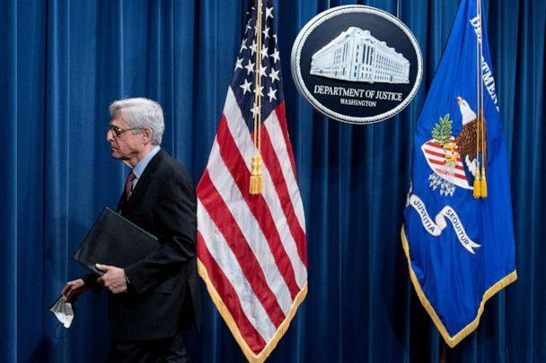 PHOTO: Attorney General Merrick Garland leaves after speaking about a jury's verdict in the case against former Minneapolis Police Officer Derek Chauvin in the death of George Floyd, at the Department of Justice, April 21, 2021 in Washington, DC. (Andrew Harnik/AFP via Getty Images)