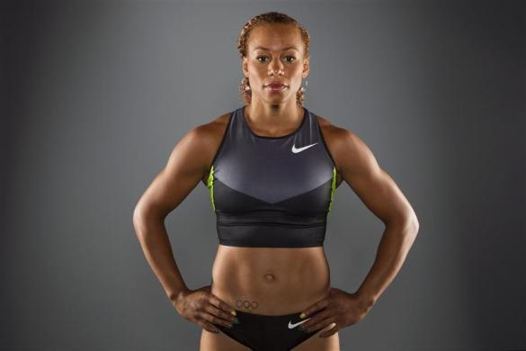 Heptathlon Track & Field athlete Hyleas Fountain poses for a portrait during the 2012 U.S. Olympic Team Media Summit in Dallas, May 13, 2012.
