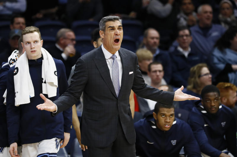 Villanova head coach Jay Wright yells to his team during the first half of an NCAA college basketball game against St. John's, Wednesday, Feb. 26, 2020, in Villanova, Pa. (AP Photo/Matt Slocum)