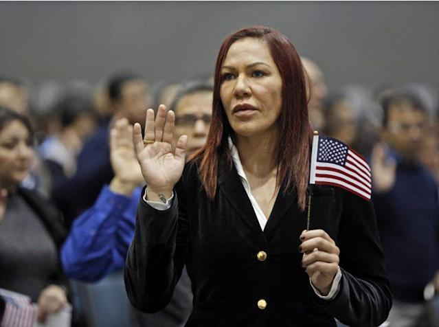 Cris Cyborg Justino officially became a U.S. citizen during a naturalization ceremony at the Los Angeles Convention Center on Dec. 13, 2016. (AP)