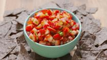 "<p>Tomatoes, we don't need you.</p><p>Get the recipe from <a href=""https://www.delish.com/cooking/recipe-ideas/recipes/a42539/strawberry-salsa-recipe/"" rel=""nofollow noopener"" target=""_blank"" data-ylk=""slk:Delish"" class=""link rapid-noclick-resp"">Delish</a>.</p>"