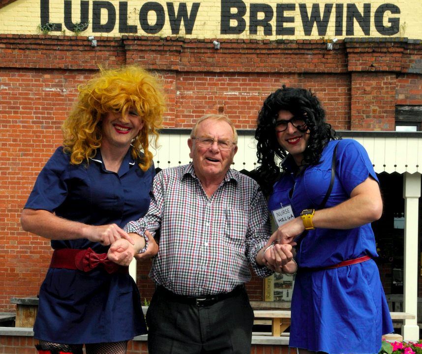 <em>Peter Corfield (centre) chairman of the League of Friends of Ludlow Hospital, described the refusal of the cash as 'absolutely ridiculous' (SWNS)</em>