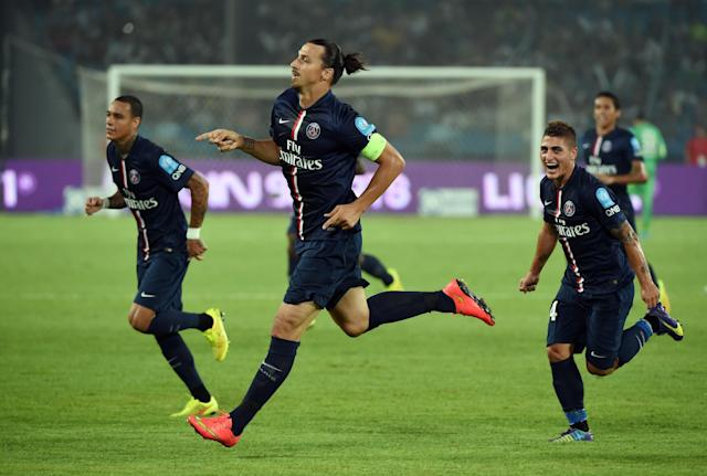 PSG's Zlatan Ibrahimovic (C) celebrates after scoring during a Champions Trophy match against Guingamp in Beijing on August 2, 2014 (AFP Photo/Greg Baker)