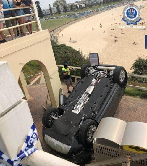 An SUV went through the rail guard at Sydney's iconic Bondi Beach. (Photo: NSW Police)