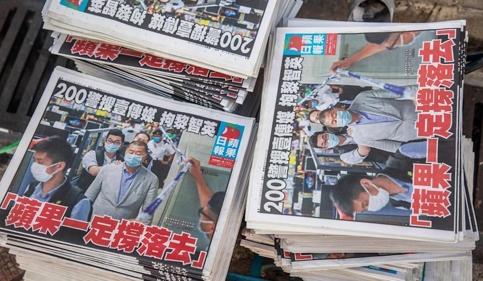 Copies of Apple Daily sold like hot cakes. Photo: AFP