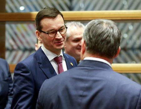 Polish PM Morawiecki arrives at the Visegrad Group meeting in Brussels