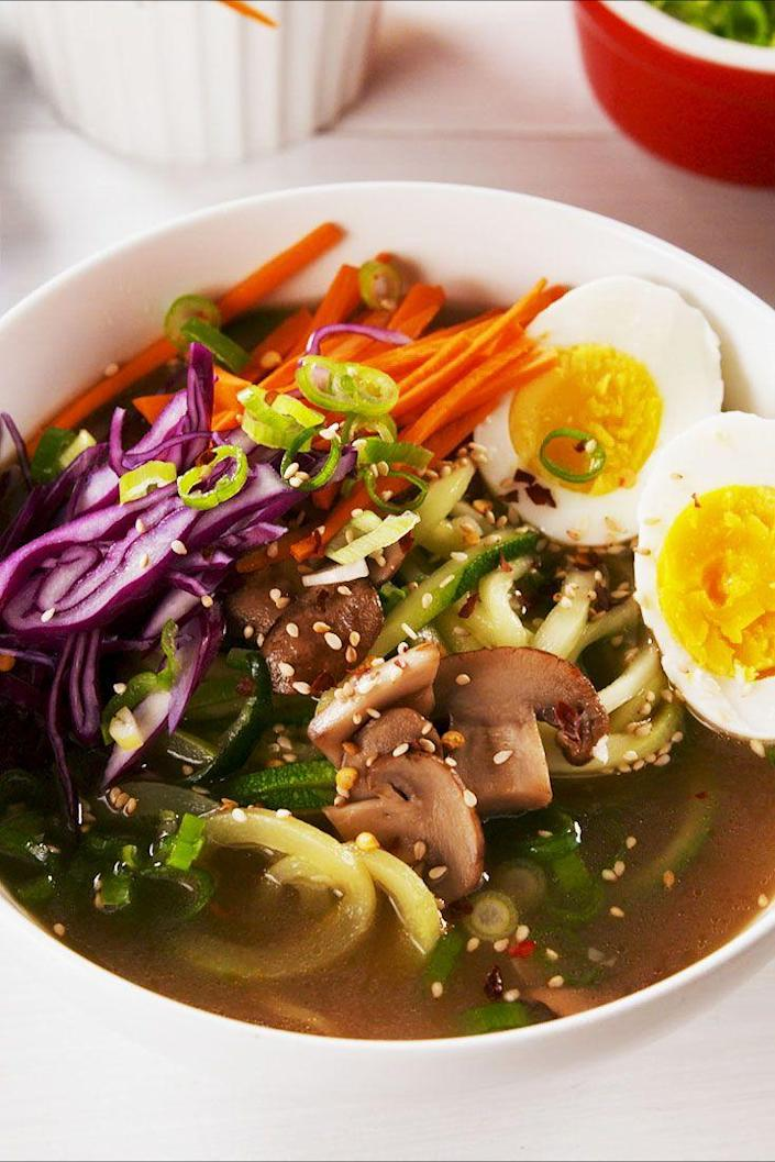 """<p>Lighten up a heavy ramen dish with zoodles!</p><p>Get the recipe from <a href=""""https://www.delish.com/cooking/recipe-ideas/a25608564/zoodle-ramen-recipe/"""" rel=""""nofollow noopener"""" target=""""_blank"""" data-ylk=""""slk:Delish"""" class=""""link rapid-noclick-resp"""">Delish</a>.</p>"""