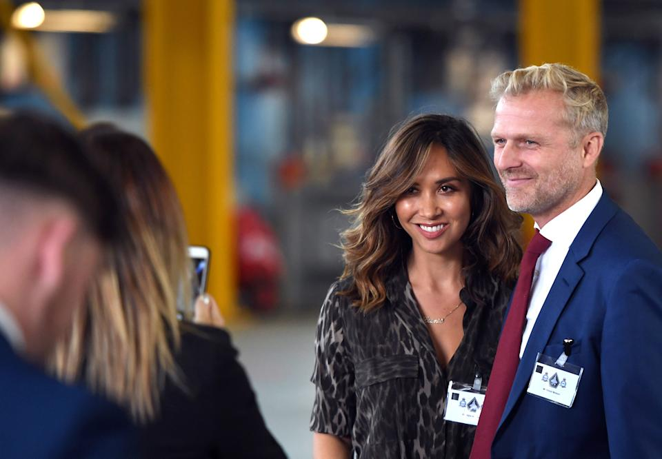 Myleene Klass and boyfriend Simon Motson attend the consecration parade for 617 Squadron's new standard at RAF Marham in Norfolk.