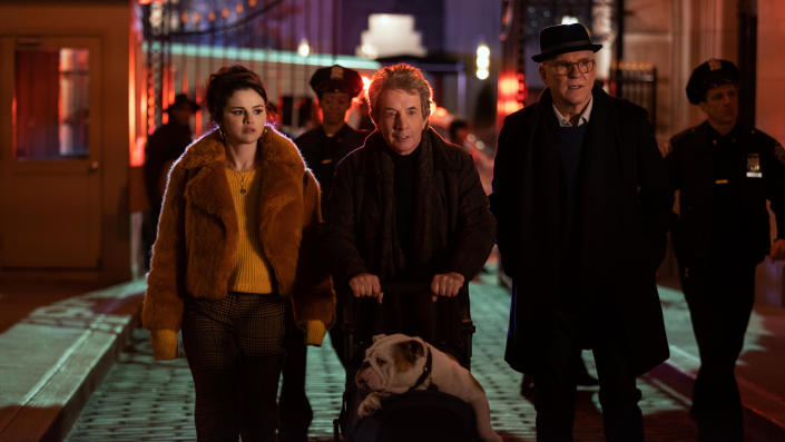 Selena Gomez, Martin Short and Steve Martin star in new comedy series 'Only Murders in the Building'. (Craig Blankenhorn/Hulu)