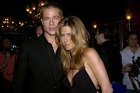 """<p>It's <a href=""""https://www.marieclaire.com/celebrity/a25685/brad-pitt-reportedly-texting-jennifer-aniston/"""" rel=""""nofollow noopener"""" target=""""_blank"""" data-ylk=""""slk:reported"""" class=""""link rapid-noclick-resp"""">reported</a> that Pitt and Aniston are in contact. Sources say he tracked down his ex's number so he could wish her a happy birthday, and that they've """"been texting."""" What's more, apparently Pitt """"told her he's having a hard time with his split and they exchanged a few texts reminiscing about the past."""" Hmmmm.</p>"""
