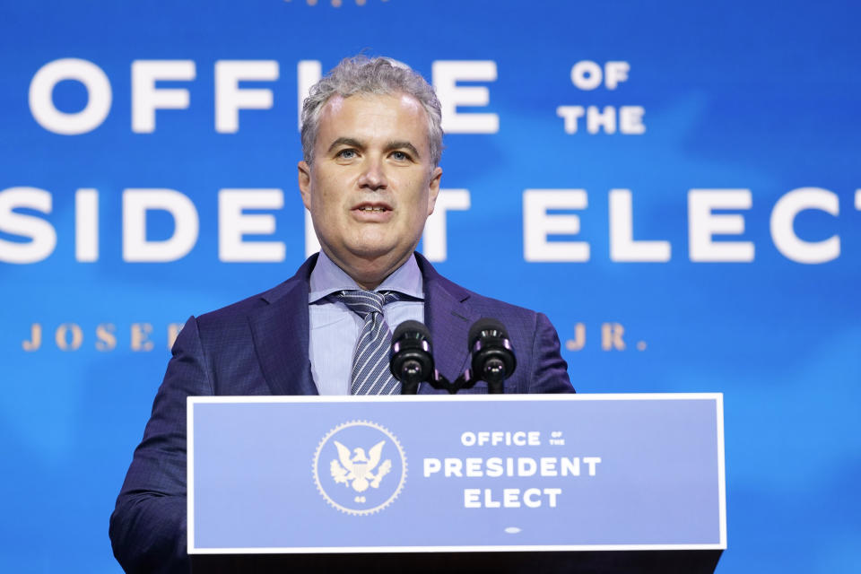Jeff Zients, who has been selected serve as coordinator of the Covid-19 response and counselor to the President speaks during an event at The Queen theater in Wilmington, Del., Tuesday, Dec. 8, 2020, to announce President-elect Joe Biden's health care team. (AP Photo/Susan Walsh)