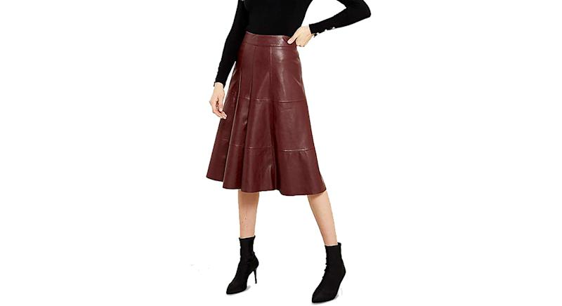 Sosandar Leather Look Panelled Midi Skirt