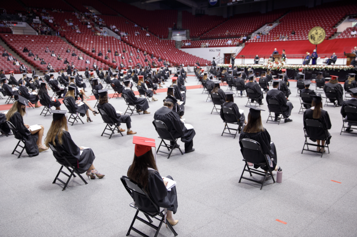 Space was put between each of the graduates to promote social distancing (Matthew Wood - University of Alabama Photography)