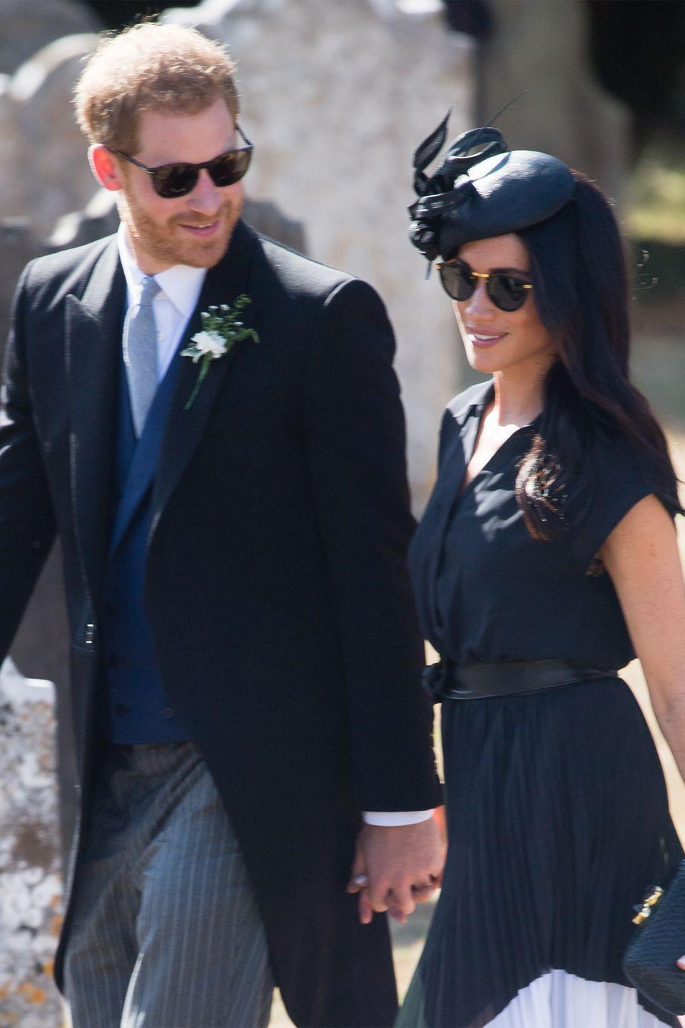 "<p>Rocking a very <a href=""https://www.harpersbazaar.com/celebrity/latest/a22643026/meghan-markle-charlie-van-straubenzee-wedding/"" rel=""nofollow noopener"" target=""_blank"" data-ylk=""slk:affordable look"" class=""link rapid-noclick-resp"">affordable look</a> with a Club Monaco skirt, Meghan and Harry attended the wedding of Harry's good friend, Charlie Van Straubenzee, where the prince served as best man. It was also Meghan's 37th birthday. </p>"