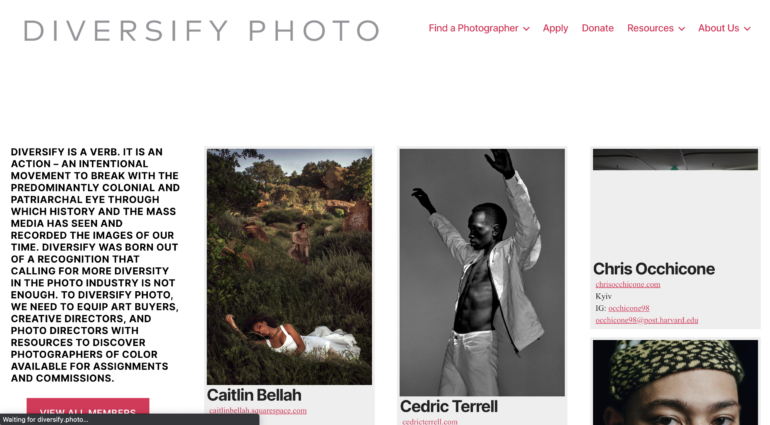 Diversify Photo has a catalogue of photographers from different backgrounds. (Screenshot)