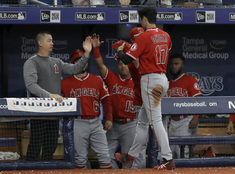 Los Angeles Angels' Shohei Ohtani (17), of Japan, celebrates with teammates in the seventh inning of a baseball game against the Tampa Bay Rays on Thursday, June 13, 2019, in St. Petersburg, Fla. Ohtani hit for the cycle in the game. (AP Photo/Chris O'Meara)