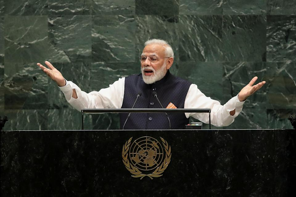 <p>File: Narendra Modi at United Nations General Assembly at UN headquarters on September 27, 2019.  Freedom House said India is partly free under Modi government </p> (Getty Images)