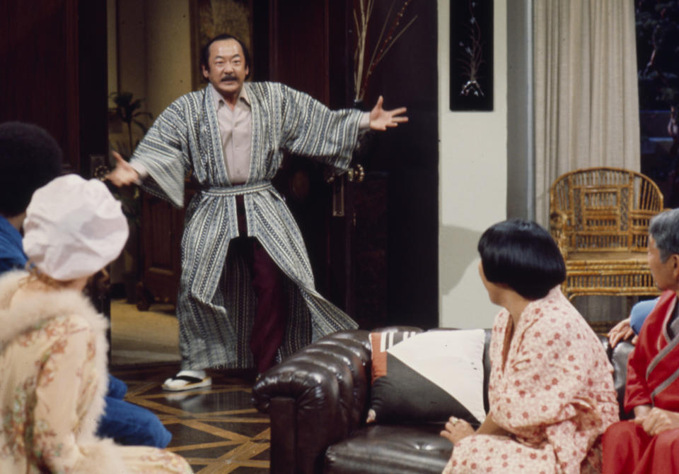 Unspecified - 1976: Pat Morita wearing traditional Japanese kimono appearing in the ABC tv series 'Mr T and Tina'. (Photo by Walt Disney Television via Getty Images)