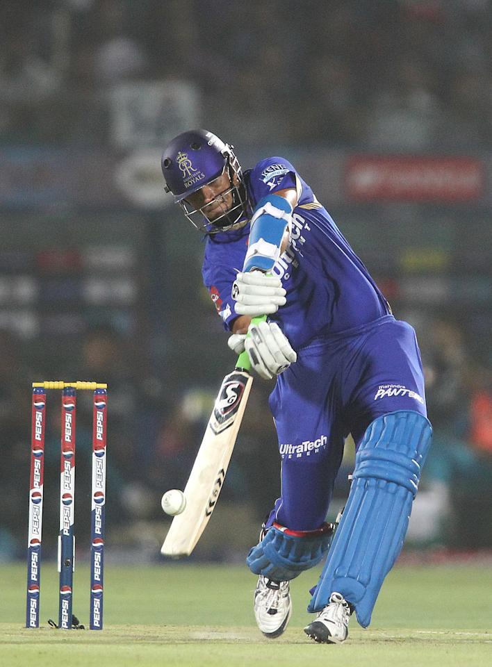 Rajasthan Royals captain Rahul Dravid drives a delivery to the boundary during match 50 of the Pepsi Indian Premier League (IPL) 2013 between The Rajasthan Royals and the Pune Warriors India held at the Sawai Mansingh Stadium in Jaipur on the 5th May 2013..Photo by Shaun Roy-IPL-SPORTZPICS ..Use of this image is subject to the terms and conditions as outlined by the BCCI. These terms can be found by following this link:..https://ec.yimg.com/ec?url=http%3a%2f%2fwww.sportzpics.co.za%2fimage%2fI0000SoRagM2cIEc&t=1493332662&sig=0DTofaqTFqxd5onUWi5Dgg--~C
