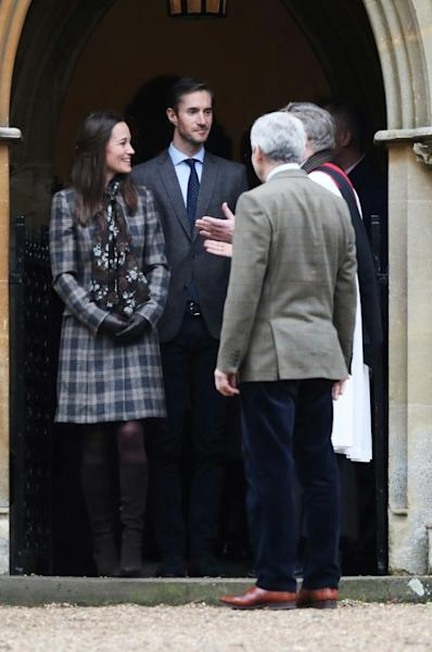 Pippa Middleton will marry financier James Matthews, seen accompanying her to a Christmas Day service last year, on Saturday