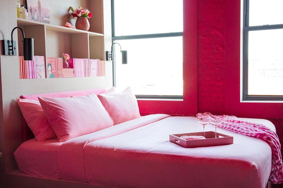 The bed at Walker Tribeca for Breast Cancer Awareness Month