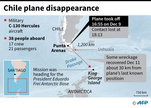 The location of the wreckage found in the search effort for the missing plane