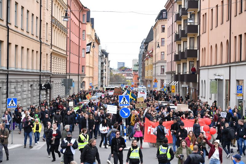 FILE PHOTO: Protestors from Frihet Sverige march to protest against coronavirus disease (COVID-19) restrictions