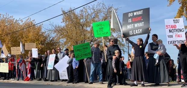 Hundreds of people stand by the side of the main street in Aylmer, Ont., before a rally and march to protest public health measures.