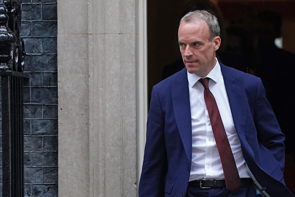 Foreign Secretary Dominic Raab leaves Downing Street, London, after the government's weekly Cabinet meeting. Picture date: Tuesday September 14, 2021.