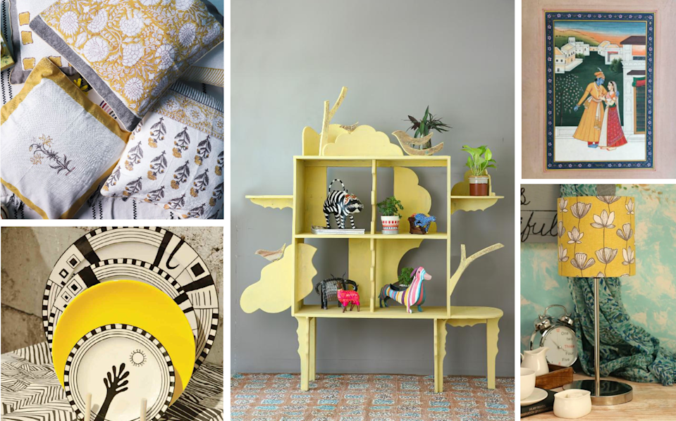 Yellow, a colour that's synonymous with Indian art and design, is the perfect pop to a neutral grey backdrop