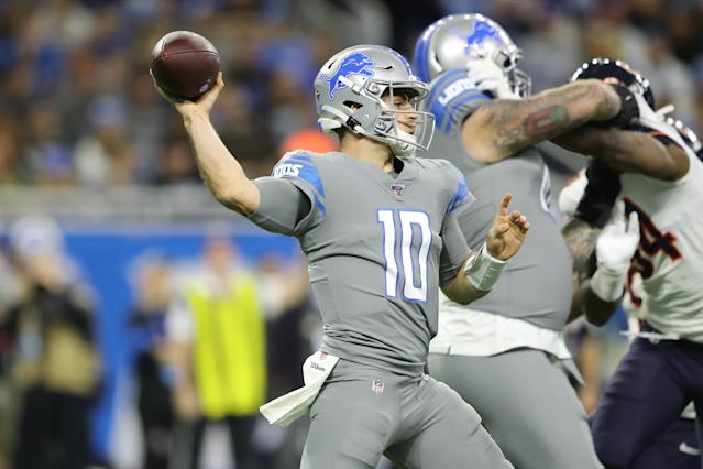 "<a class=""link rapid-noclick-resp"" href=""/nfl/teams/detroit/"" data-ylk=""slk:Detroit Lions"">Detroit Lions</a> rookie QB <a class=""link rapid-noclick-resp"" href=""/nfl/players/32272/"" data-ylk=""slk:David Blough"">David Blough</a> threw two first-quarter touchdowns. (Rey Del Rio/Getty Images)"