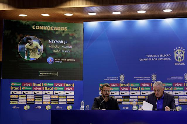 Brazil's head coach Tite attends a news conference on his 23-man squad for the 2018 World Cup in Russia, Rio de Janeiro, Brazil May 14, 2018. REUTERS/Ricardo Moraes